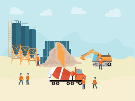 cemento: La planta industrial de procesamiento de cemento con el trabajador hombre, ilustración vectorial.