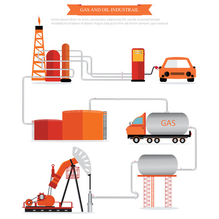 succession: Gas and oil industrial infographic, vector illustration. Illustration