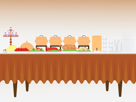 tables: Buffet table with many food, roasted Turkey, salad, spaghetti, lobster and fruit watermelon and orange, vector illustration.