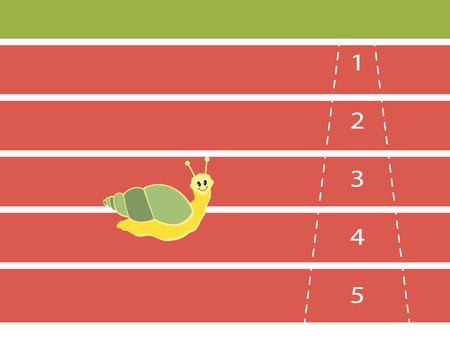 effort: Snail effort running on red rubber track near finish line alone as winner, vector illustration. Illustration