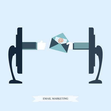 correo electronico: El email marketing conceptual, de la mano de una carta electrónica que sostiene la pantalla del monitor, ilustración vectorial.