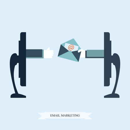 email symbol: Email marketing conceptual, Hand from a monitor screen holding e-mail letter, Vector illustration.