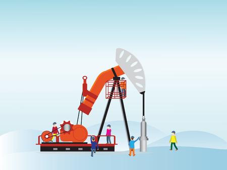 trabajador petroleros: Bomba de aceite con el trabajador petrolero, ilustración vectorial.