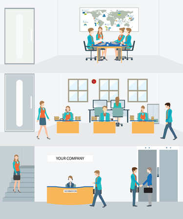 Businessman and woman in interior building, various characters, actions and activities, vector illustration.