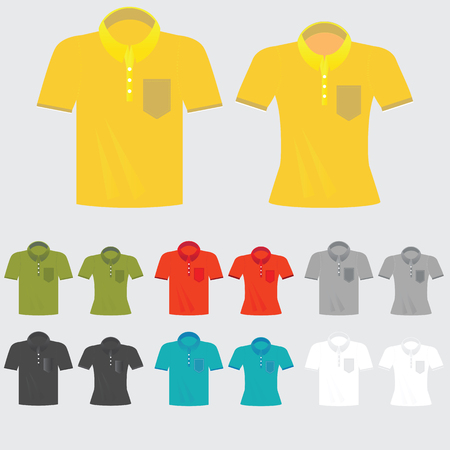 woman white shirt: Set of templates colored polo shirts for man and women, fashion design vector illustration. Illustration