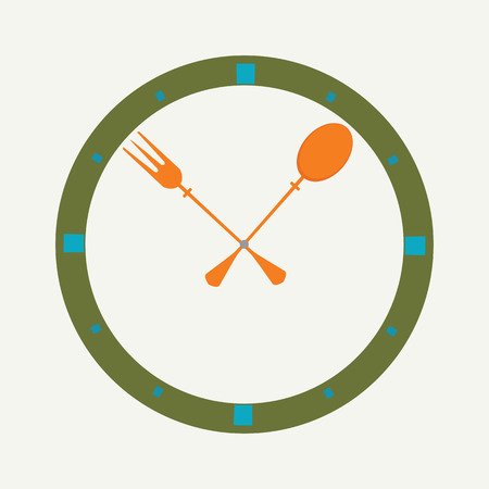 collation: Fork and spoon as a clock, clock icon, design for cafe brochure, vector illustration. Illustration