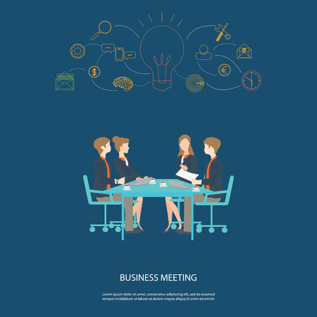 business meeting: Business meeting partnership and brainstorming , conceptual business success, vector illustration. Illustration