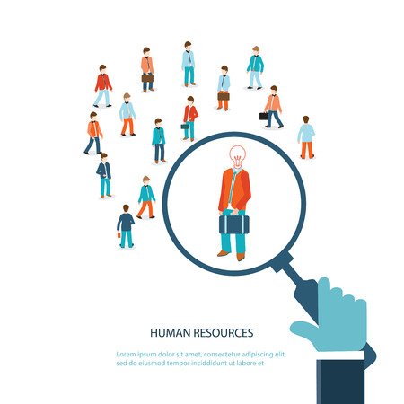 customer focus: Magnifying glass searching business people, Human resource, vector illustration.