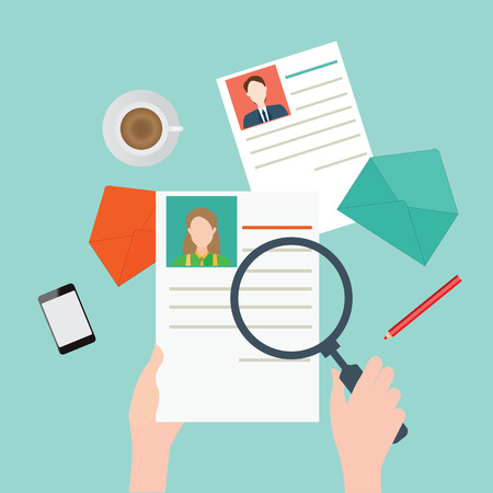 jobs: Magnifying glass searching business people, Human resources, vector illustration. Illustration