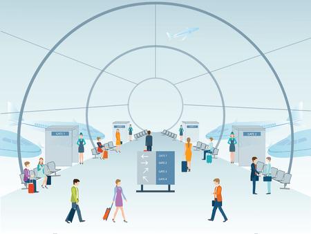 путешествие: Пассажиры в зале терминала аэропорта, векторные иллюстрации.
