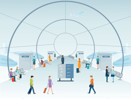 airport people: Passengers at the Airport terminal hall, vector illustration. Illustration
