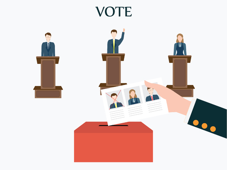 Candidates standing at the podium.Voting concept, Vote ballot with box, Vector illustration, flat design.