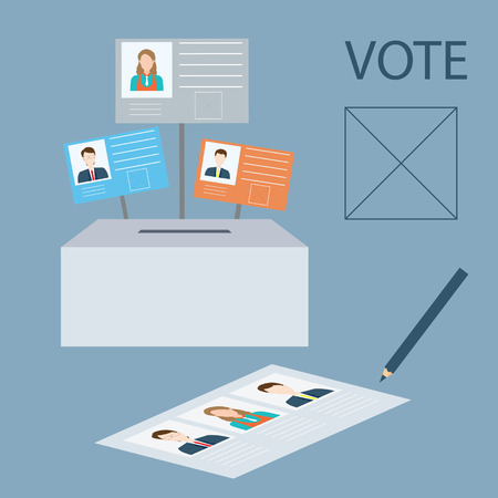 candidate: Vote design with candidate and Ballot boxes., vector illustration.