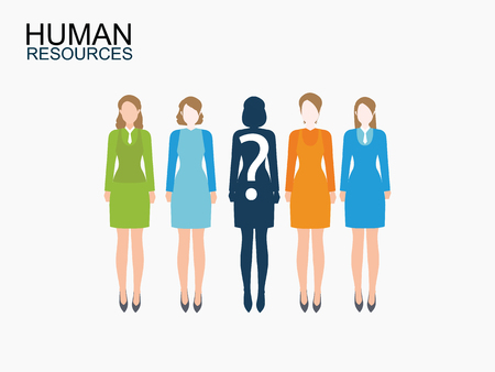 sociology: Group of business women, Human resources design, vector illustration.
