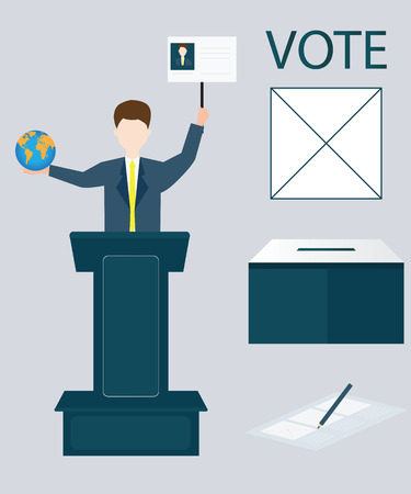 candidates: Candidates standing at the podium with hands holding globe earth.Voting concept, Vote ballot with box, Vector illustration, flat design. Illustration