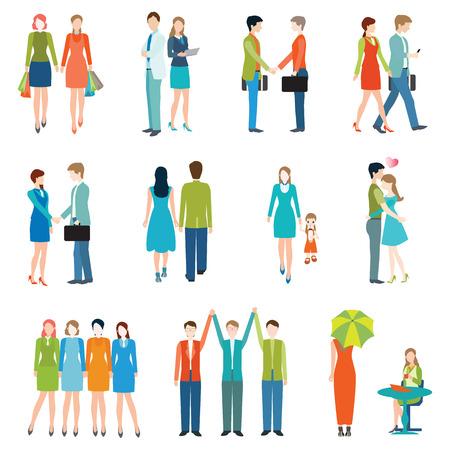 amadores: La gente en diferentes estilos de vida, gente de negocios, amigos, pareja de alto nivel, los amantes, se dan la mano, el trabajo en equipo. Conjunto de caracteres con el estilo de diseño plano.
