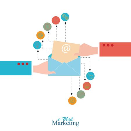 email marketing: Email marketing conceptual, Vector illustration.