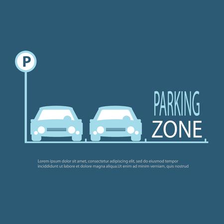 Parking Zone blauwe achtergrond. Vector Illustratie. Stock Illustratie