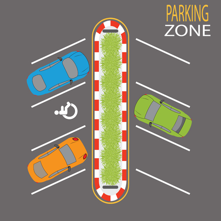 a lot  of: Parking Zone on grey road background. Vector Illustration.