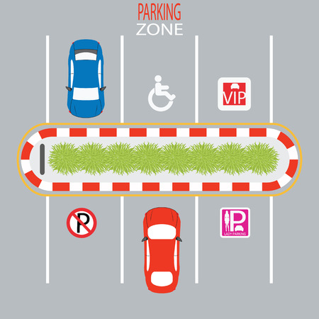 a lot: Parking Zone design, Lady parking, disabled, no parking, vip parking, Vector Illustration. Illustration