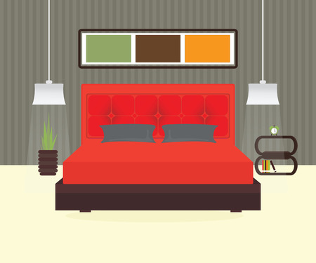 Flat Design Double Bedroom, Bedroom interior,conceptual Vector illustration. Illustration