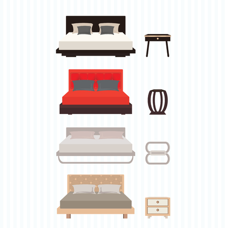 chamber pot: Bedroom furniture design concept set with modern home interior elements, vector illustration.