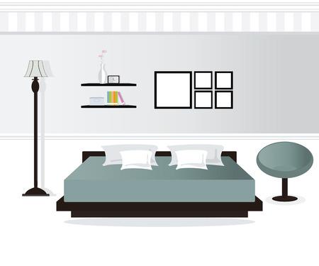 bedroom design: Flat Design Double Bedroom, Bedroom interior,conceptual Vector illustration. Illustration