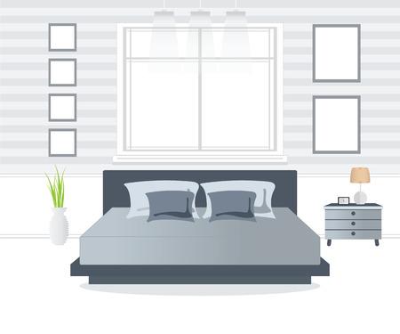 bedroom furniture: Flat Design Double Bedroom, Bedroom interior,conceptual Vector illustration. Illustration
