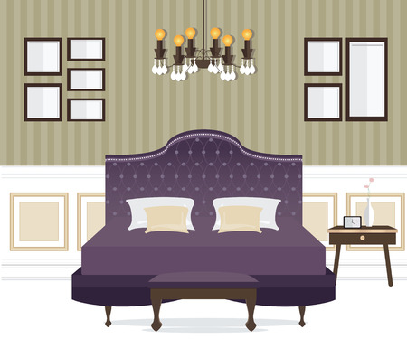 chamber pot: Flat Design Double Bedroom, Bedroom interior,conceptual Vector illustration. Illustration