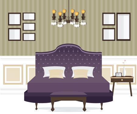 Flat Design Double Bedroom, Bedroom interior,conceptual Vector illustration. Illustration