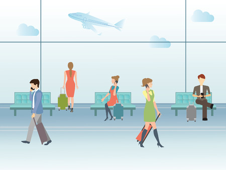 departure: Business people in airport terminal. travel concept,Traveler and departure, transportation passenger, luggage and baggage, journey vector illustration.