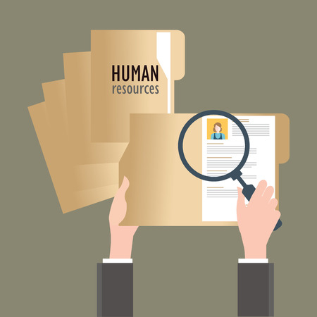 focus: Magnifying glass searching business people, Human resources, conceptual vector illustration.