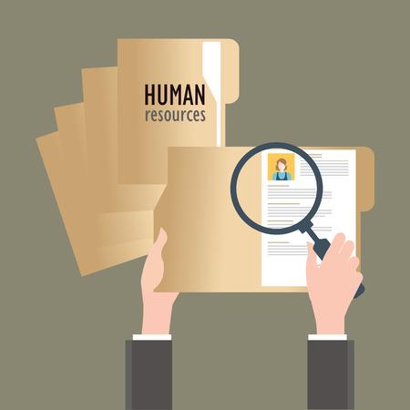 Vergrootglas zoeken mensen uit het bedrijfsleven, Human resources, conceptuele vector illustratie. Stockfoto - 47636212