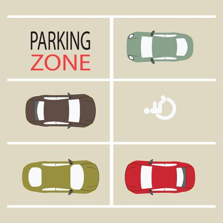 rules of road: Parking Zone design, conceptual Vector Illustration.