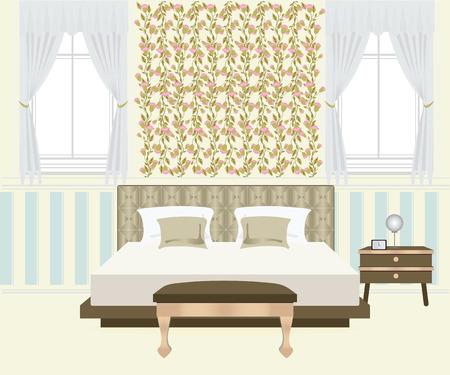 bedroom bed: Flat Design Double Bedroom, Bedroom interior,conceptual Vector illustration. Illustration