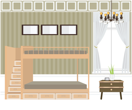 interior design: Flat design bunk beds, Bedroom interior,conceptual Vector illustration.