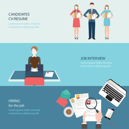 puesto de trabajo: Bandera plana Reclutamiento conjunto con la búsqueda de empleo, entrevista de trabajo, contrató el trabajo, ilustración vectorial conceptual. Vectores