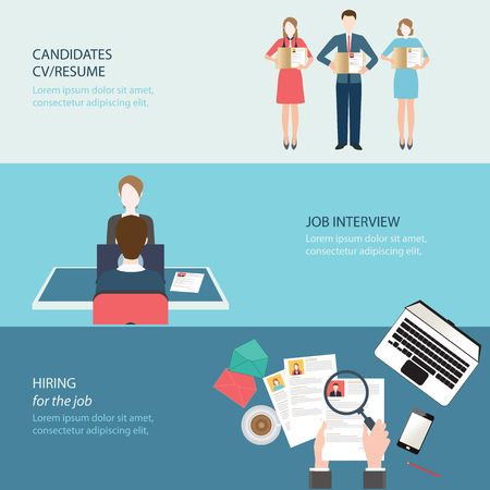 job hunting: Recruitment flat banner set with job search,job interview, hired the job, conceptual vector illustration.
