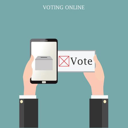 voting ballot: Voting online design with Ballot boxes, conceptual vector illustration.