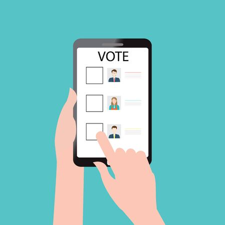 Voting online design with Ballot boxes, conceptual vector illustration.