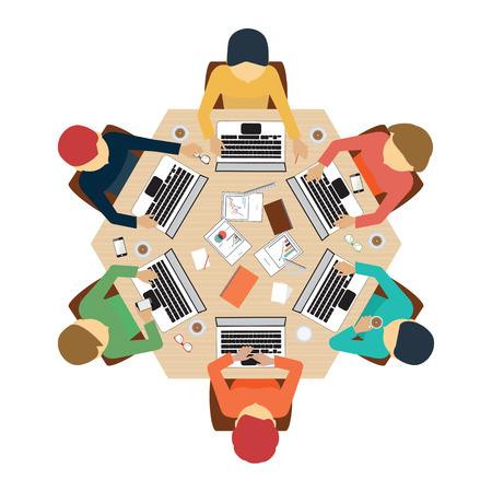 computadora caricatura: Reunión de negocios, oficina, trabajo en equipo, de intercambio de ideas en el estilo plano, ilustración vectorial conceptual. Vectores