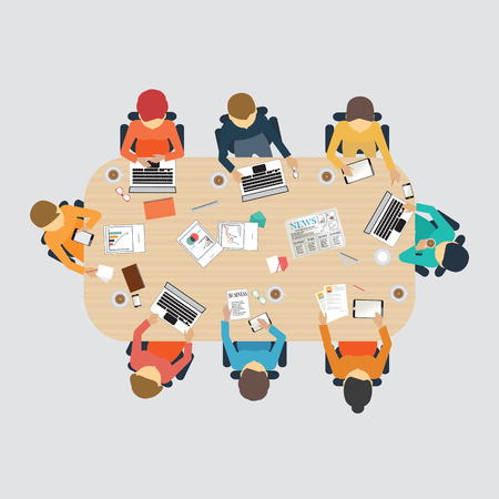 meeting table: Business meeting, office, teamwork, brainstorming in flat style, conceptual vector illustration. Illustration