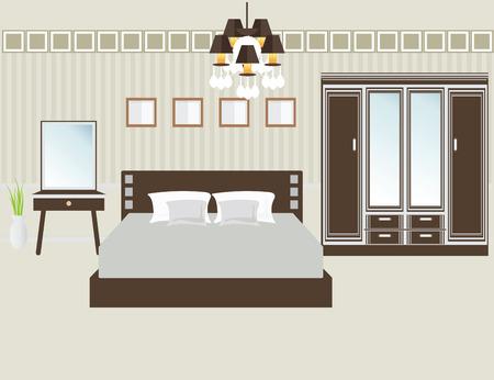 Flat Design Double Bedroom, Bedroom interior,Vector illustration. Illustration