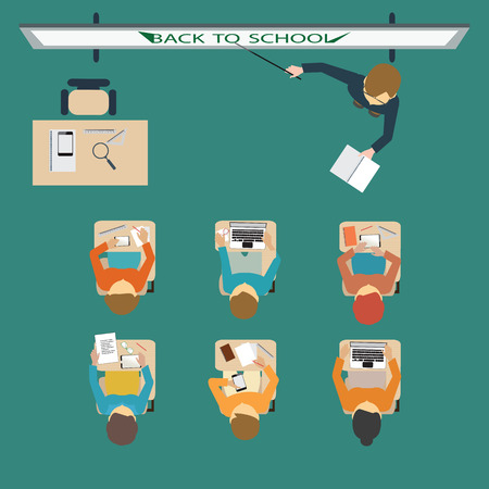 back view student: Kids studying in classroom, little school children, sitting at the desks, Back to school, education conceptual Vector Illustration.