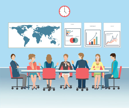 ビジネス会議、オフィス、チームワーク、フラット スタイルで、概念ベクトル図ブレーンストーミングします。