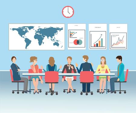 Business-Treffen, Büro, Teamarbeit, Brainstorming in Flat, konzeptionelle Vektor-Illustration. Standard-Bild - 47917973