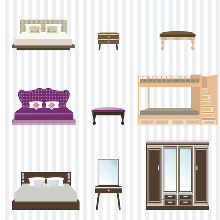 modern interieur: Bedroom furniture design concept set with modern home interior elements, vector illustration.