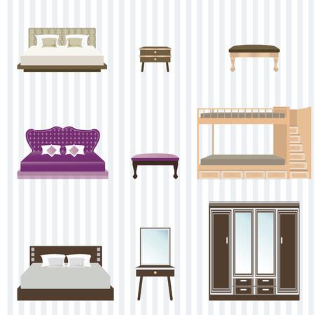 bunk bed: Bedroom furniture design concept set with modern home interior elements, vector illustration.