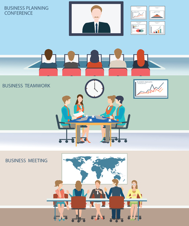 discussion meeting: Business meeting, office, teamwork, planning, conference, brainstorming in flat style, conceptual vector illustration.