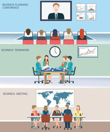 planeaci�n: Reuni�n de negocios, oficina, trabajo en equipo, la planificaci�n, conferencias, intercambio de ideas en el estilo plano, ilustraci�n vectorial conceptual.